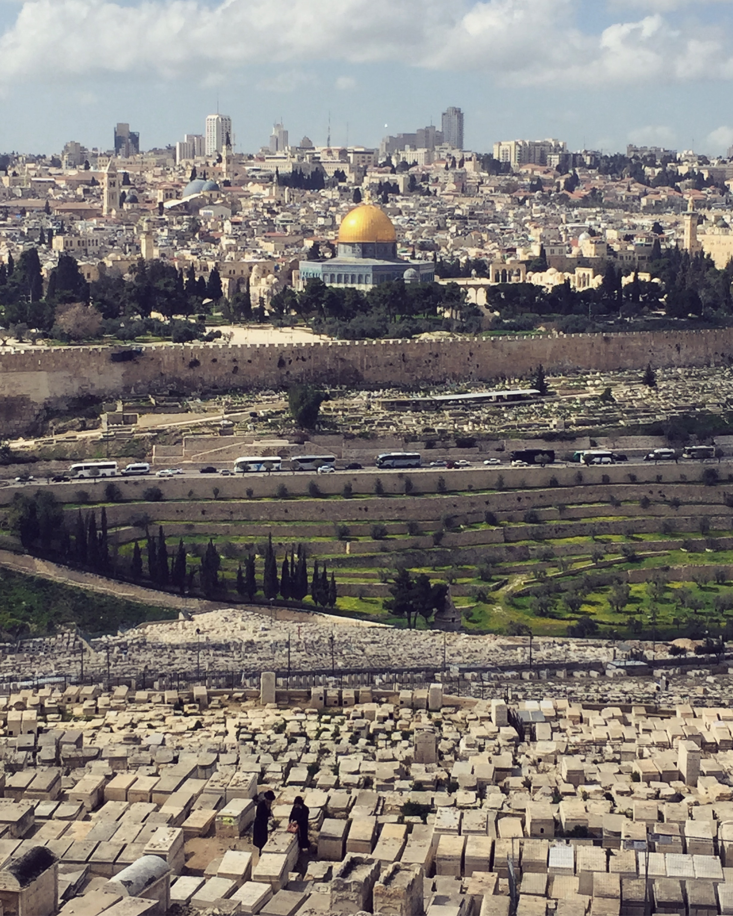 Jerusalem - view of Temple Mount with Jewish cemetery in the front